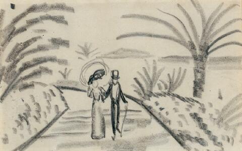 August Macke - Paar im südlichen Park