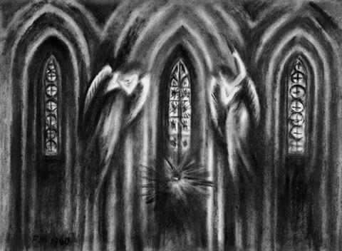 """Frans Masereel - Kirchenszene (Bühnenbildentwurf zu Goethes """"Urfaust"""")"""