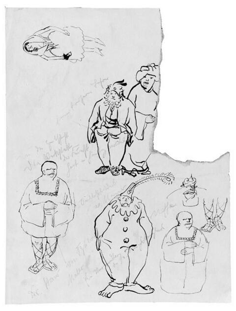 Wilhelm Morgner - Skizzen mit Karnevalsfiguren oder Karikaturen