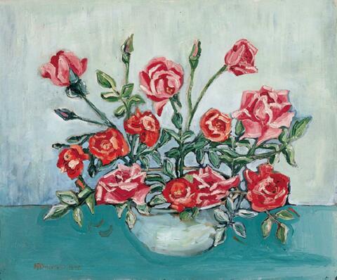 Hermann Max Pechstein - Blumenstilleben (Rote Rosen in einer Schale)