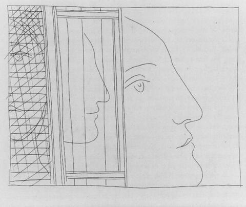 Pablo Picasso - Trois Fragments de Têtes. Femme assise et Cheval. Deux Lutteurs observés par trois femmes nues