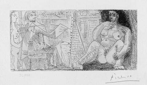 Pablo Picasso - Dans l'atelier: peintre, modèle et spectatrice