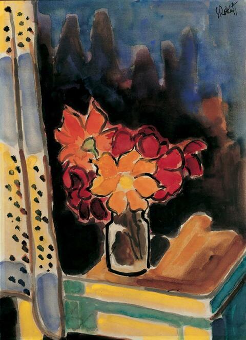 Karl Schmidt-Rottluff - Blumenstilleben (Rote Blüten in einem Glas am Fenster)
