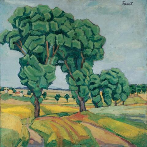 Georg Tappert - Bäume in hügeliger Landschaft