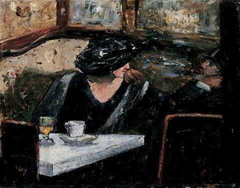 Lesser Ury - Dame und Herr in einem Kaffeehaus.