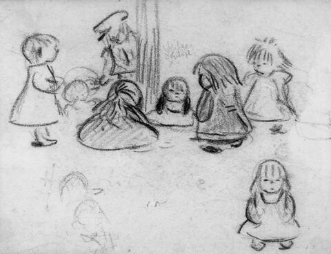 Heinrich Zille - Kinder auf der Strasse (Skizzenblatt)
