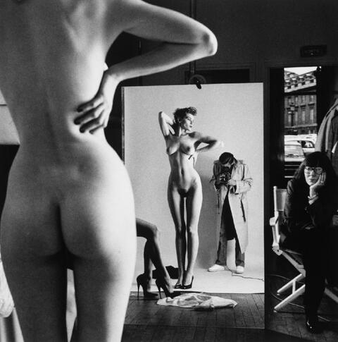 Helmut Newton - Self Portrait with wife and models