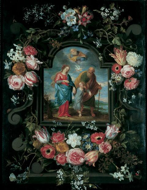 Jan Brueghel d. J. - BLUMENGESCHMÜCKTE KARTUSCHE MIT DER HEILIGEN FAMILIE.