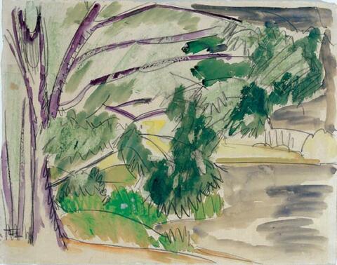 Ernst Ludwig Kirchner - Bäume am Seeufer (Böhmen)