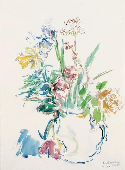 Oskar Kokoschka - Frühlingsstrauß mit Iris, Tulpen und Osterglocken in einer Vase