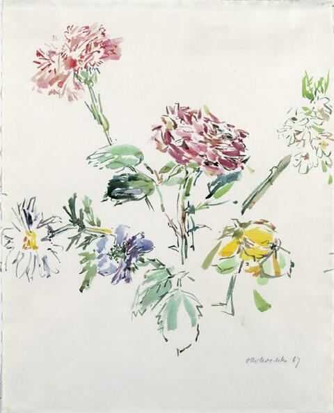 Oskar Kokoschka - Sommerblüten mit Zinnie und Nelke