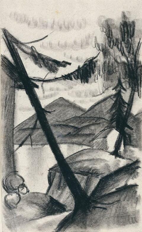 August Macke - Landschaft vom Thuner See mit Tannen