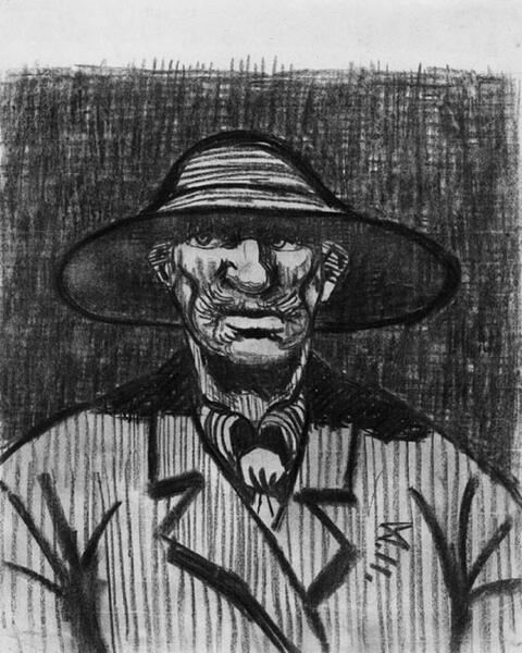 Wilhelm Morgner - Mann mit großem Hut (Selbstbildnis)