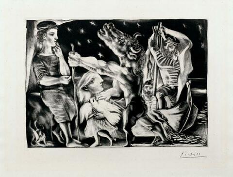 Pablo Picasso - Minotaure aveugle guidé par Marie-Thérèse au pigeon dans une nuit étoilée