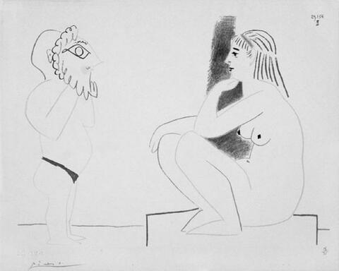 Nach Pablo Picasso - Le peintre et le modèle