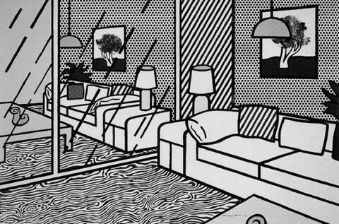 Roy Lichtenstein - Wallpaper with blue floor interior