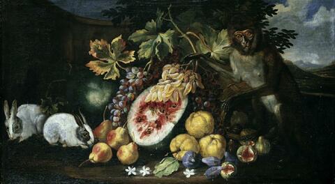 Abraham Brueghel, Umkreis - FRÜCHTESTILLEBEN MIT HASEN UND EINER MEERKATZE.