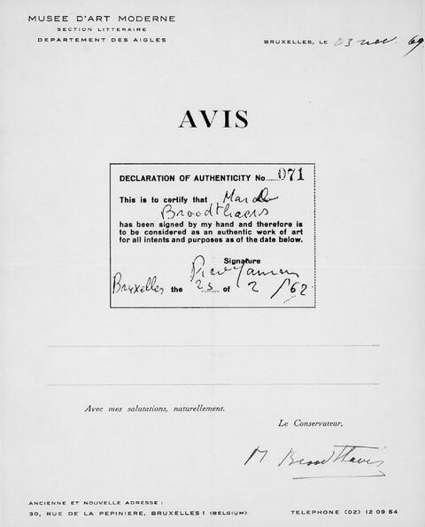 Marcel Broodthaers - Ohne Titel (Musée des Aigles)