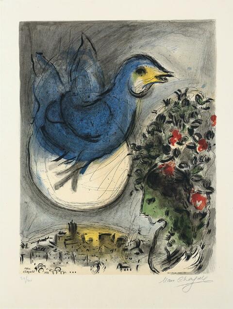 Nach Marc Chagall - Der blaue Vogel