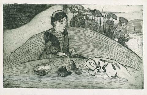 Paul Gauguin (Paris 1848 - 1903 Atuana (La Dominique/Marquesas Inseln)/Armand Seguin (Bretagne 1869 - 190 - La Femme au figues