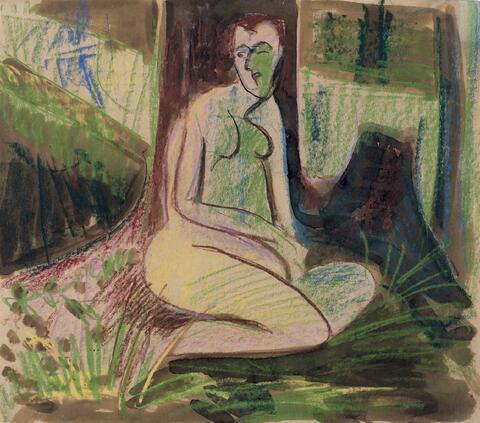 Ernst Ludwig Kirchner - Sitzender Akt im Wald vor Baum