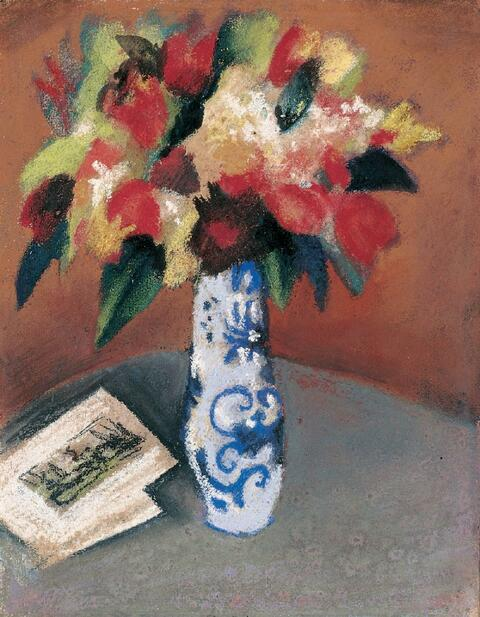 August Macke - Tulpenstrauß in blau-weißer Vase