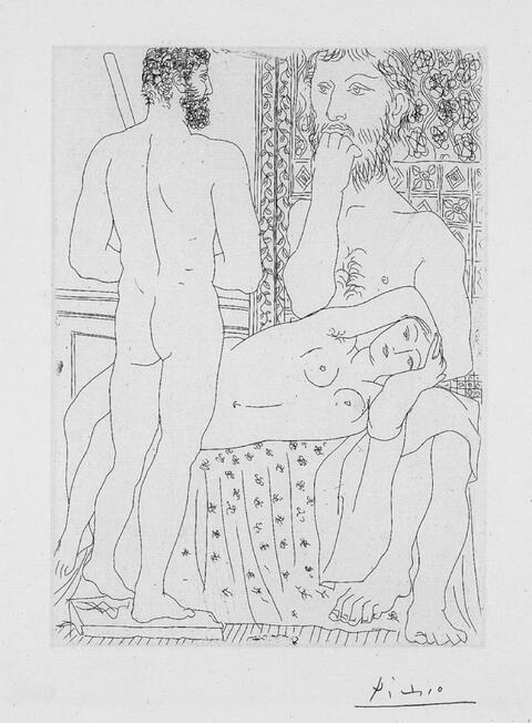 Pablo Picasso - Sculpteur, modèle couché et autoportrait en hercule sculpté