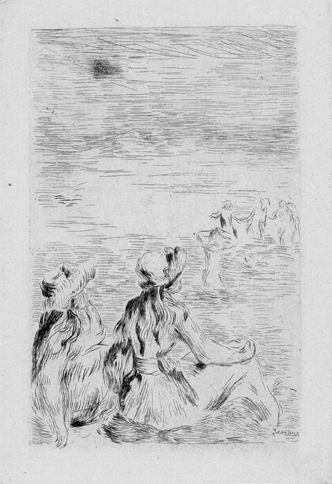 Pierre-Auguste Renoir - Sur la plage, à Berneval. Le Chapeau épinglé (La fille de Berthe Morisot et sa cousine), 3e planche