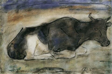 Christian Rohlfs - Liegende Kuh. Rückseitig: Margueriten