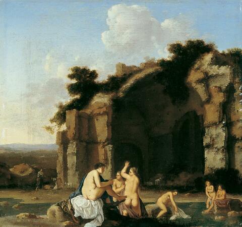 Cornelis van Poelenburgh - BADENDE FRAUEN (NYMPHEN) VOR RÖMISCHEN RUINEN.