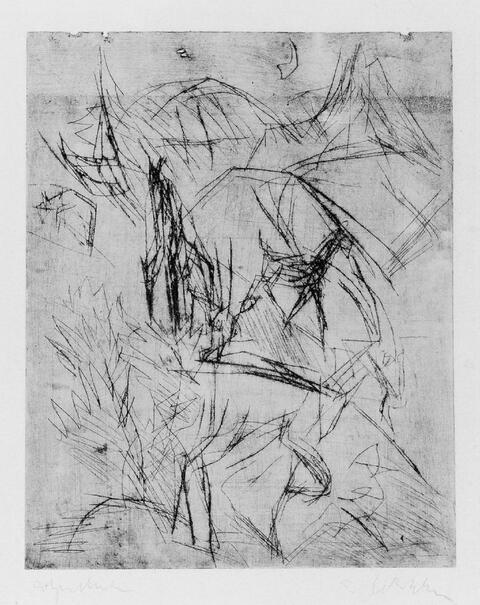 Ernst Ludwig Kirchner - Ziegen und Mond (unvollendet)