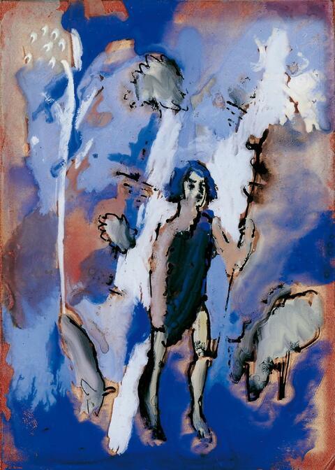 August Macke - Hirte mit Schafen
