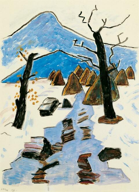 Gabriele Münter - Zwei Bäume bei Tauwetter im Murnauer Moos