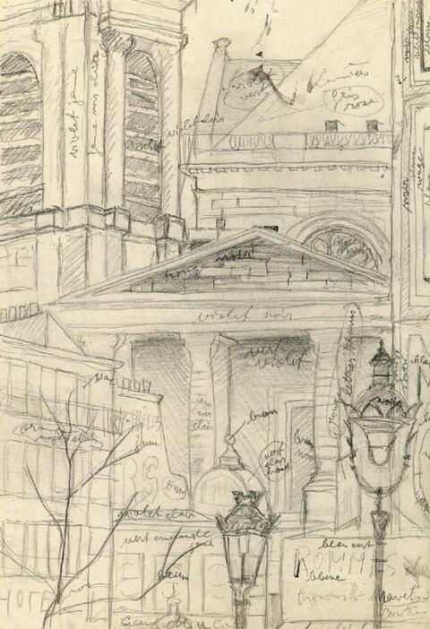 Christian Schad - Pariser Stadtlandschaft (Detail der Kirche von Saint Eustache)