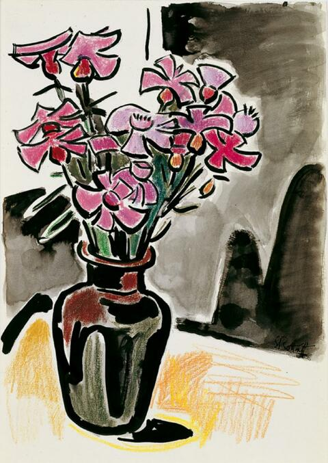 Karl Schmidt-Rottluff - Stilleben mit Anemonen in einer braunen Vase