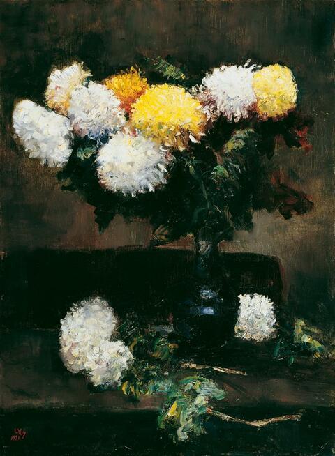 Lesser Ury - Weiße und gelbe Chrysanthemen in blauer Vase