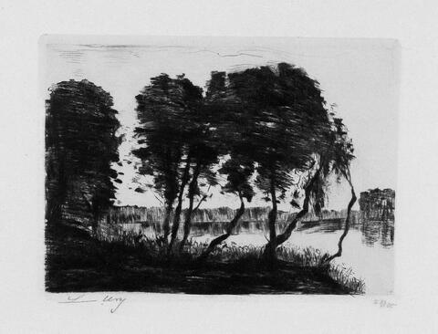 Lesser Ury - Bäume am Ufer des Grunewaldsees