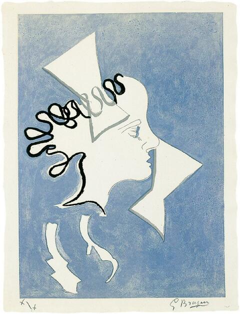 Georges Braque - Profil sur fond bleu