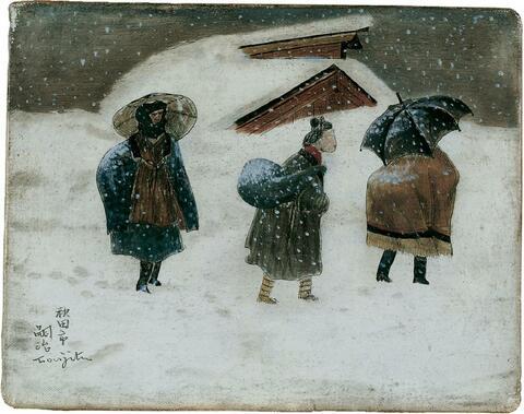 Léonard Tsuguharu Foujita - Paysage de neige, à Akita