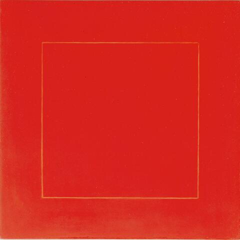 Antonio Calderara - Nel quadrato rosso scrittura quadrata