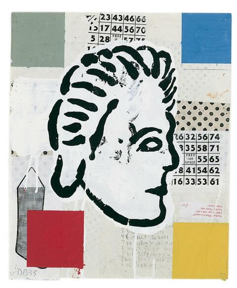 Donald Baechler - Abstract Composition with Greek Head # 1
