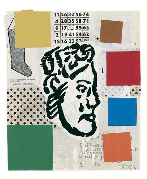Donald Baechler - Abstract Composition with Greek Head # 4