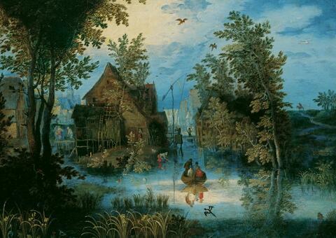 Jan Brueghel d. J. - DORFGRACHT MIT LANDUNGSSTEG UND ZIEHBRUNNEN.