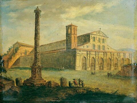 Römischer Meister - ZWEI RÖMISCHE VEDUTEN. 1. Blick auf den Petersplatz aus der Vogelschau. 2. Die Basilika S. Paolo fuori delle mura.