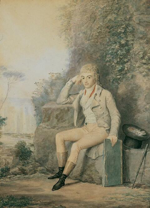 Jean-Baptiste Isabey, zugeschrieben - BILDNIS EINES JUNGEN ZEICHNERS IN EINER PARKLANDSCHAFT.