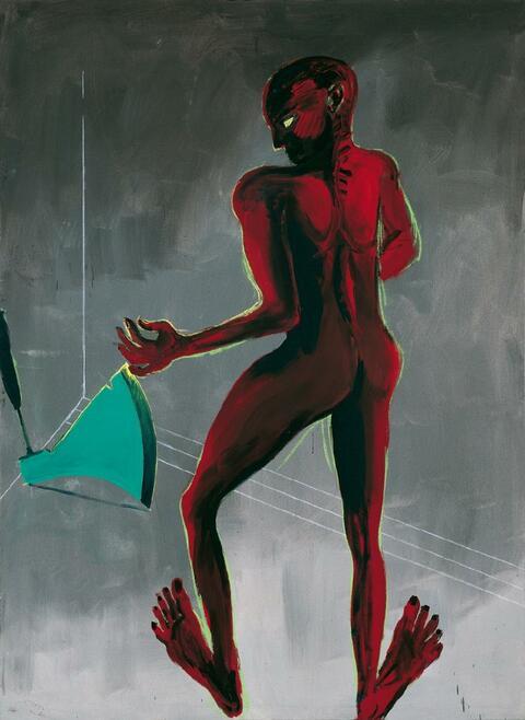 Rainer Fetting - Mann und Axt (Rot Grün)