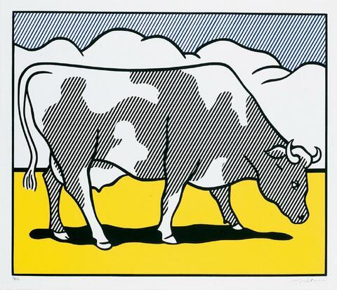 Roy Lichtenstein - Cow Triptych (Cow going abstract)