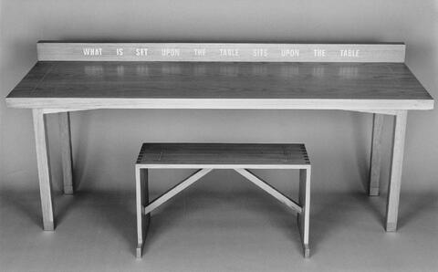 Lawrence Weiner - What is set upon the table sits upon the table