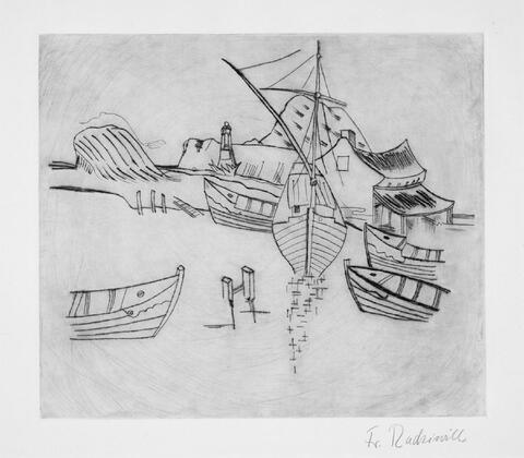 Franz Radziwill - Boote im Hafen mit Leuchtbake