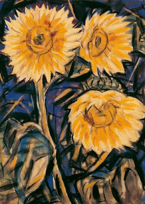 Christian Rohlfs - Drei Sonnenblumen